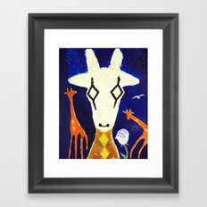 giraffe in harlequin mask Framed Art Print
