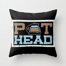 Pot Head Coffee Throw Pillow