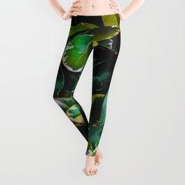 green leaves plant texture background Leggings