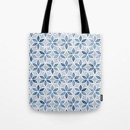 Indigo Retro Flower Tote Bag