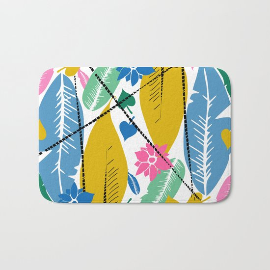 Feathers and leafs Bath Mat