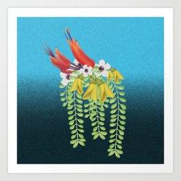 Flax, Kowhai and Manuka Flowers Art Print