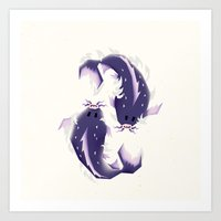 pisces Art Prints featuring Pisces! by Yetiland
