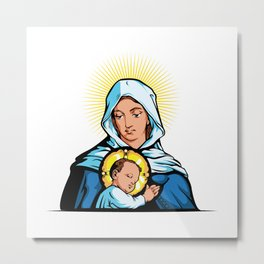 Mother Mary with Jesus Christ  Metal Print