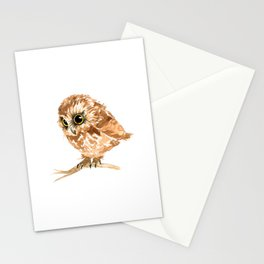 Watercolor Brown Owl Stationery Cards