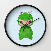 muppet Wall Clocks featuring A Boy - Kermit the frog by Christophe Chiozzi
