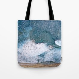 Tropical, Romantic Beach With Foamy Waves Crashing Tote Bag