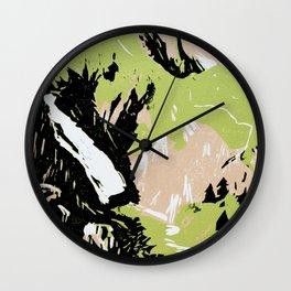 Adelboden Engstligenalp, Switzerland (linocut) Wall Clock