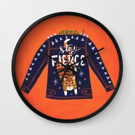 Stay Fierce Tiger Jacket Wall Clock