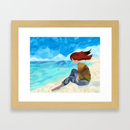 Girl with the Green Sweater Framed Art Print
