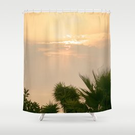 cloudy sky in the oasis Shower Curtain