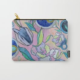 Floral and Circles Carry-All Pouch