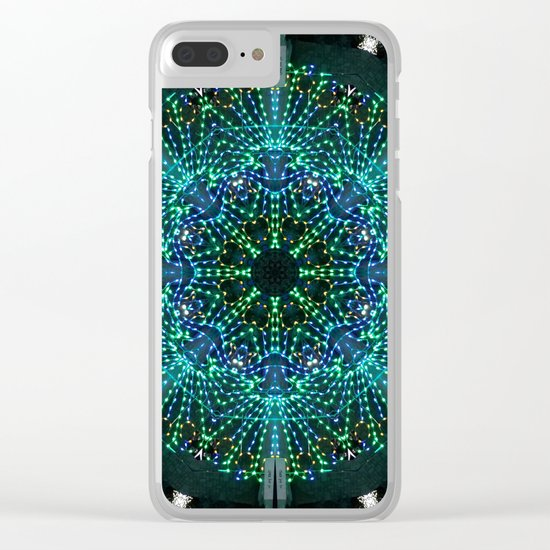 Kaleidoscope fantasy on lighted peacock shape Clear iPhone Case