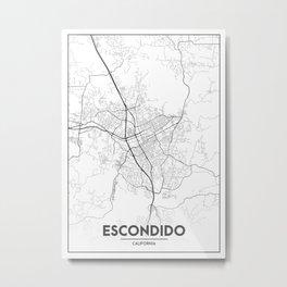 Minimal City Maps - Map Of Escondido, California, United States Metal Print