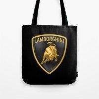 lamborghini Tote Bags featuring Lamborghini Logo by I Love Decor