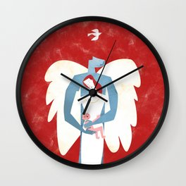 The New Christmas Family in Red Wall Clock