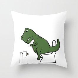 TRex dinosaur arms toilet funny gift Throw Pillow