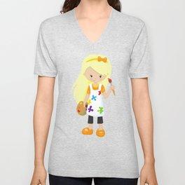 Cute Girl, Blonde Hair, Painter, Paint Artist Unisex V-Neck
