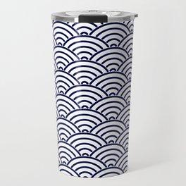 Japanese Koinobori fish scale Delft Blue Travel Mug