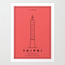 Minimal Taipei City Poster Art Print