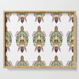 green mosaic turtle Serving Tray