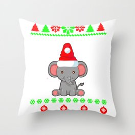 Christmas Elephant Gift Throw Pillow