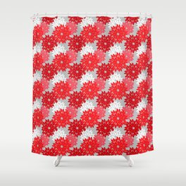 Modern Floral Kimono Print, Coral Red and Gray Shower Curtain