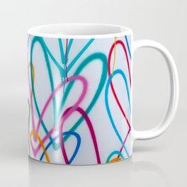 Multicoloured Love Hearts Graffiti Repeat Pattern Coffee Mug