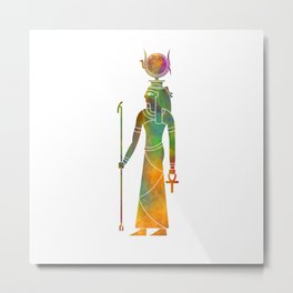Egyptian god Hathor in watercolor Metal Print