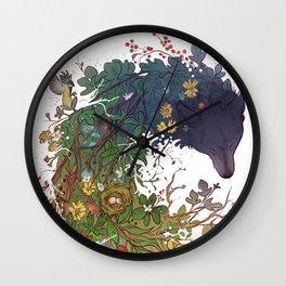 Woodland wolf Wall Clock