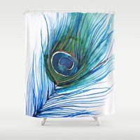 peacock feather Shower Curtains featuring Peacock Feather by Marissa