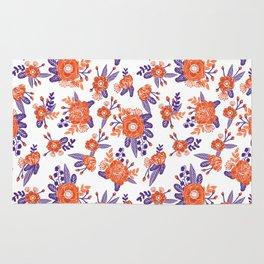 University football fan alumni clemson orange and purple floral flowers gifts Rug