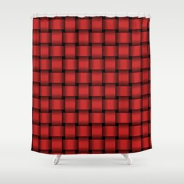 Firebrick Red Weave Shower Curtain