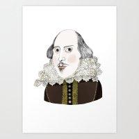 shakespeare Art Prints featuring Shakespeare by Jilly Bird