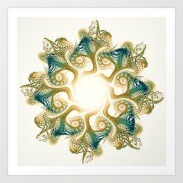 A Star of Whorling Teal Shells Art Print