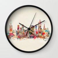 oklahoma Wall Clocks featuring tulsa oklahoma by bri.buckley