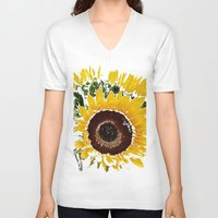 sunflowers V-neck T-shirts featuring Sunflowers by Regan's World