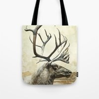 reindeer Tote Bags featuring Reindeer by ZenzPhotography