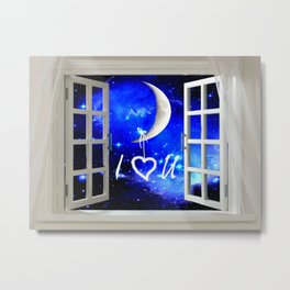 I Love You Heart Hanging from Moon Window Stars Bedroom Art A568 Metal Print