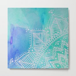 Mandala flower on watercolor background - turquoise Metal Print