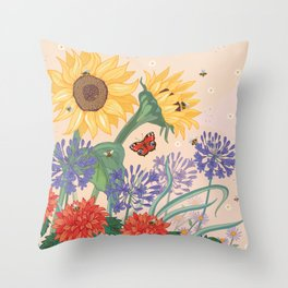 Sunflower Bees Throw Pillow
