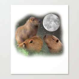 Three Moon Capybaras - Funny Cute Animal Parody Canvas Print