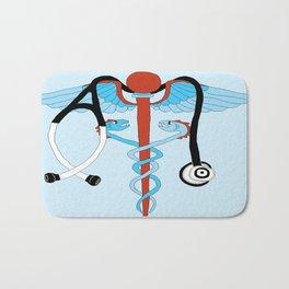 medical caduceus and stethoscope Bath Mat