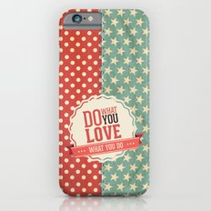 Do what you love text quote red and blue dots and stars pattern iPhone 6s Slim Case