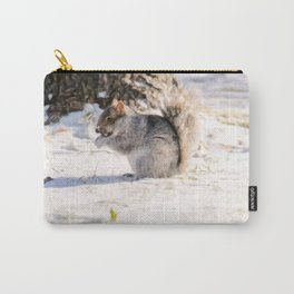 Digital Illustration of Cute Squirrel in the Snow in Montreal, QC, Canada Carry-All Pouch