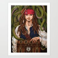 jack sparrow Art Prints featuring Jack Sparrow by sika-chan