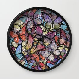 butterflies aflutter colorful version Wall Clock