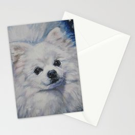 white POMERANIAN dog art portrait from an original painting by L.A.Shepard Stationery Cards