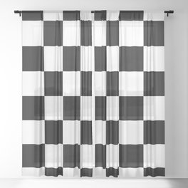 Contemporary Black & White Gingham Pattern Sheer Curtain