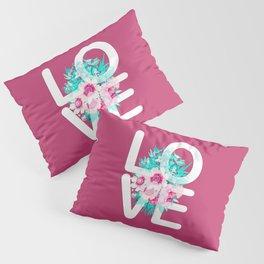 Elegant Floral Love Typography Pillow Sham